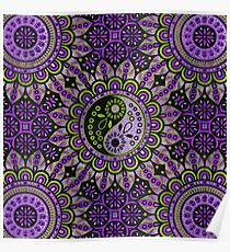 Yin yang symbol in purple and lime foil ornament  Poster