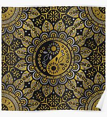 Yin yang symbol in Black and gold ornament  Poster