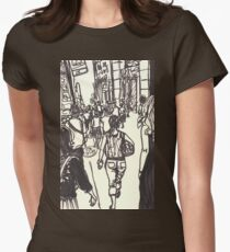 fashion avenue at morning rush hour Womens Fitted T-Shirt