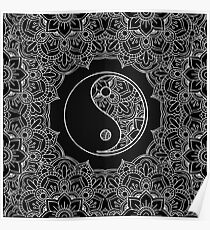 Yin yang symbol in Black and white lace ornament  Poster