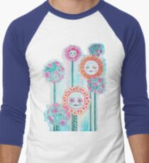 Beautiful Day - Whimsical Floral Watercolor and Ink Men's Baseball ¾ T-Shirt