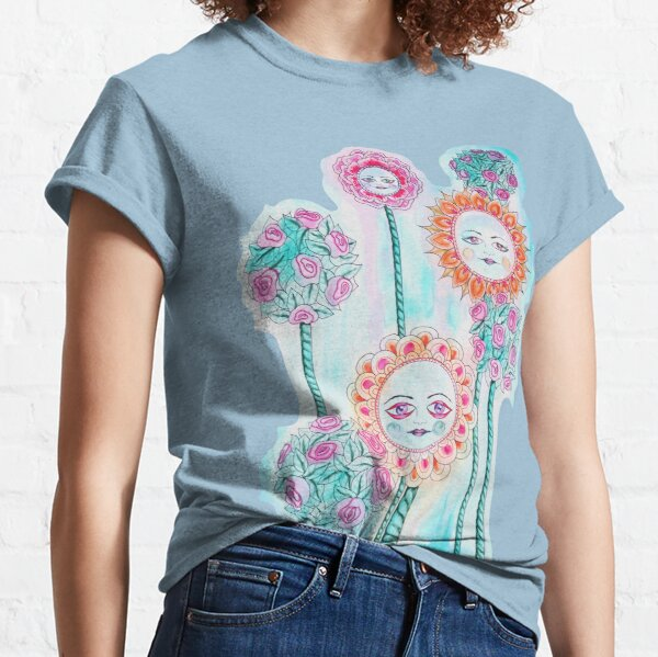 Beautiful Day - Whimsical Floral Watercolor and Ink Classic T-Shirt
