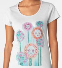 Beautiful Day - Whimsical Floral Watercolor and Ink Women's Premium T-Shirt