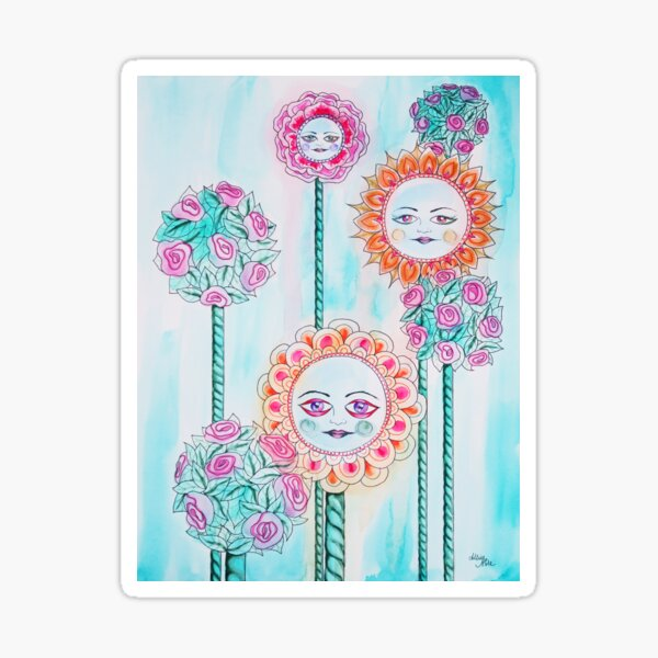 Beautiful Day - Whimsical Floral Watercolor and Ink Sticker