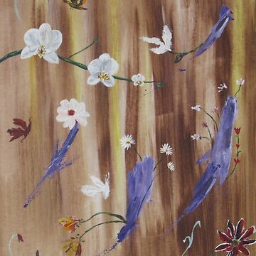 Flowers and butterflies on natural wood background by Lovemydesigns