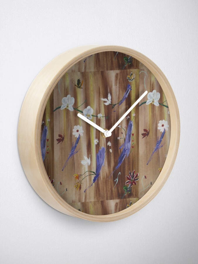 Alternate view of Flowers and butterflies on natural wood background Clock