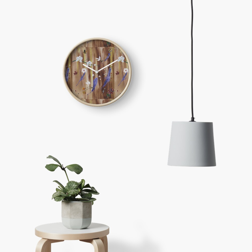 Flowers and butterflies on natural wood background Clock