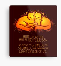 """Hurt is not the Same as Hopeless"" Golden Glowing Kittens Metal Print"