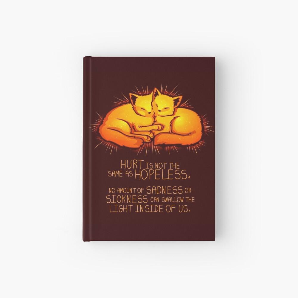"""Hurt is not the Same as Hopeless"" Golden Glowing Kittens Hardcover Journal"