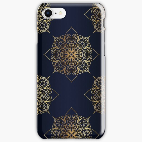 Navy & Gold Damask Pattern iPhone Snap Case