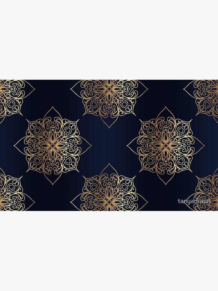 Navy & Gold Damask Pattern by tanyadraws