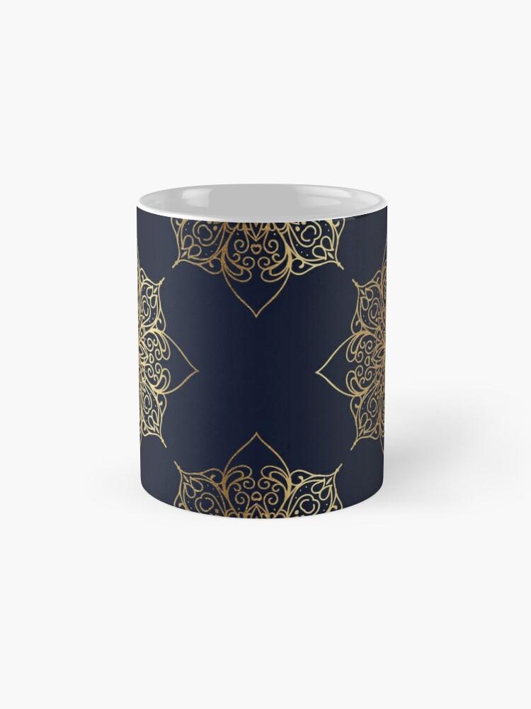 Alternate view of Navy & Gold Damask Pattern Mug