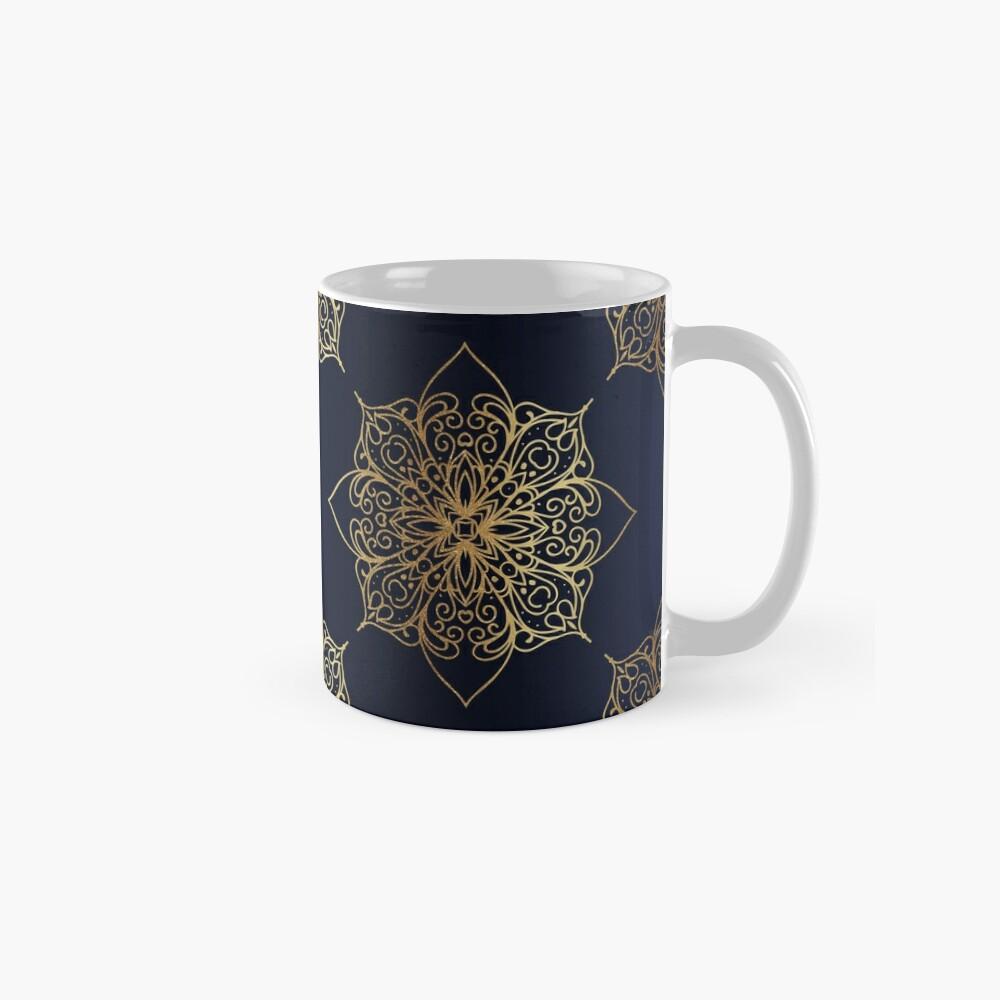 Navy & Gold Damask Pattern Mug