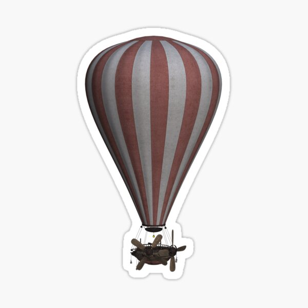 Steampunk Hot Air Balloon Airship Print Sticker