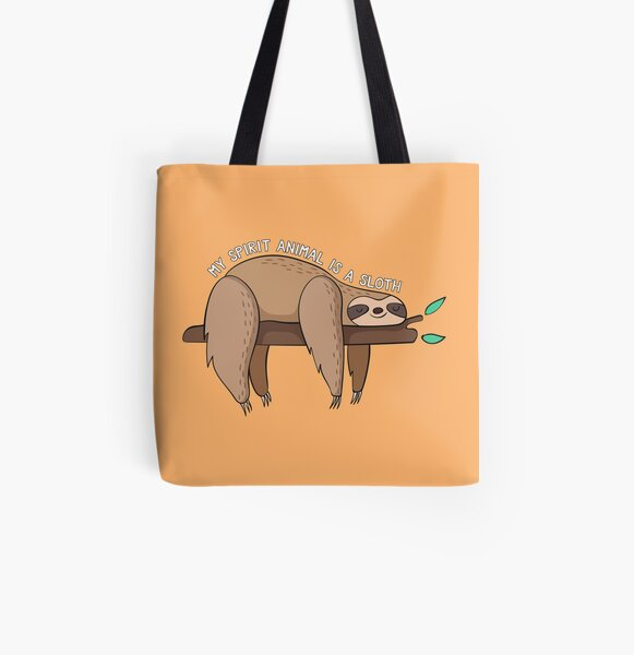 My Spirit Animal Is A Sloth All Over Print Tote Bag