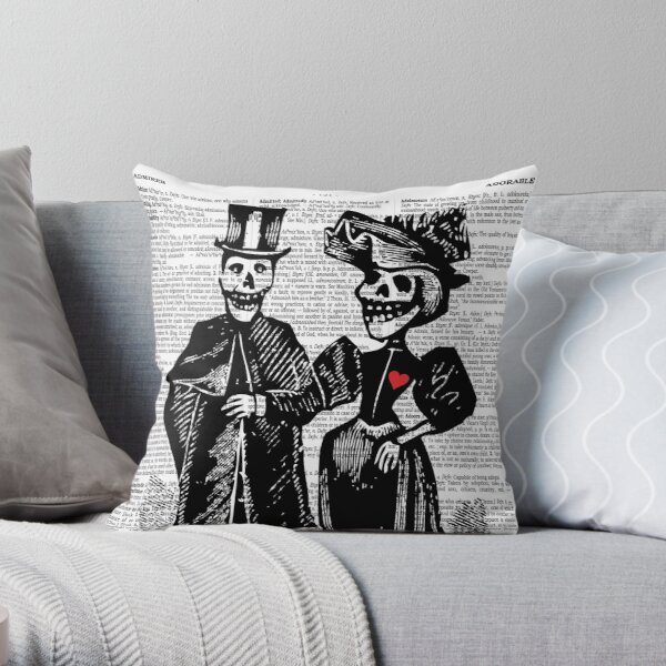 Calavera Couple | Day of the Dead | Dia de los Muertos | Skulls and Skeletons | Vintage Skeletons | Throw Pillow
