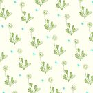 Spider Daisies (green + cream) by wallpaperfiles