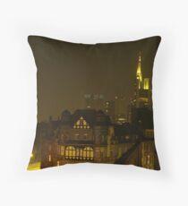 Frankfurt Night Streetscape 2 Throw Pillow