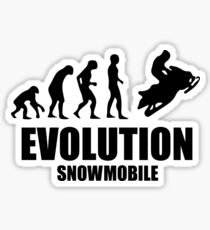 The Evolution OF Ape To Man To Snowmobile Master Tshirt Sticker