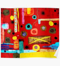 Red Abstract Art Grungy rusted old styled Poster