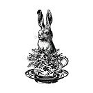 Rabbit in a Teacup   Vintage Rabbits   Vintage Tea Cups   Bunny Rabbits   Bunnies   Hares   Black and White    by EclecticAtHeART
