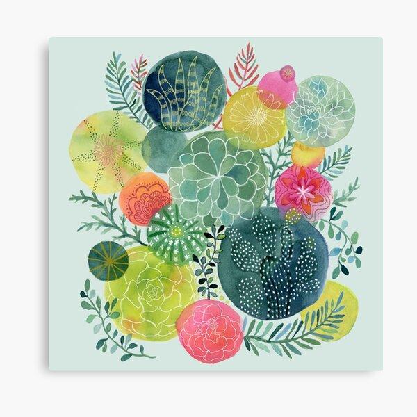Succulent Circles Canvas Print