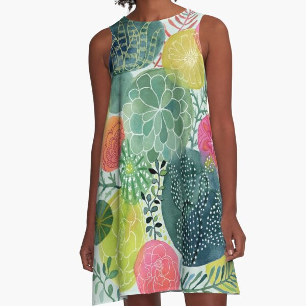 Succulent Circles A-Line Dress