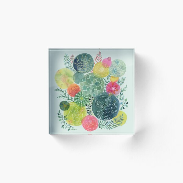 Succulent Circles Acrylic Block