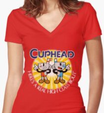 Cuphead & Mugman Women's Fitted V-Neck T-Shirt