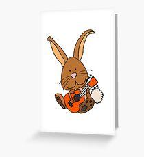 Humorous Cute Bunny Rabbit Playing Guitar Greeting Card