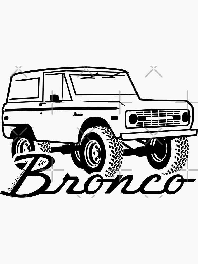 1966-1977 Ford Bronco, con logo negro estampado de TheOBSApparel
