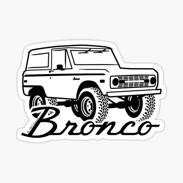 1966-1977 Ford Bronco, w/logo black print Sticker