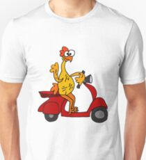 Humorous Rubber Chicken on Motor Scooter Unisex T-Shirt
