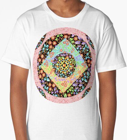 Pink Paisley Patchwork Long T-Shirt
