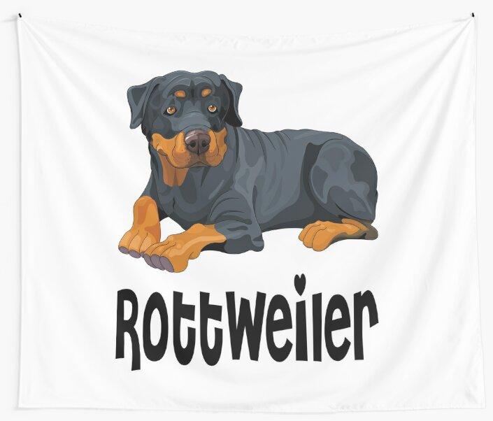 Brown & Black Rottweiler Puppy Dog Cartoon Illustration by LoveAndSerenity