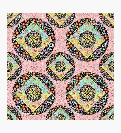 Pink Paisley Patchwork Photographic Print