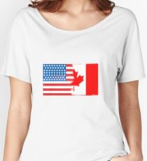 1adbbde80075 Half Canadian Half American Flag Mix Women s Relaxed Fit T-Shirt