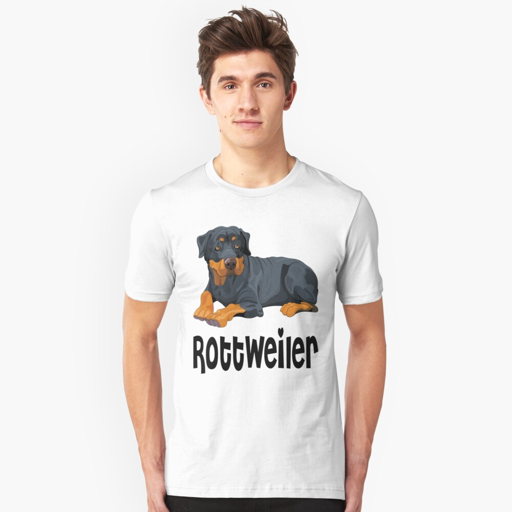 Brown & Black Rottweiler Puppy Dog Cartoon Illustration Unisex T-Shirt Front
