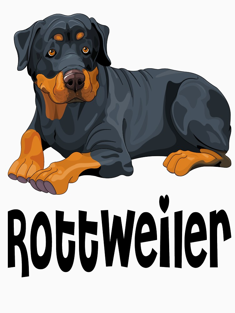 Brown & Black Rottweiler Puppy Dog Cartoon Illustration by LoveAndSerenity