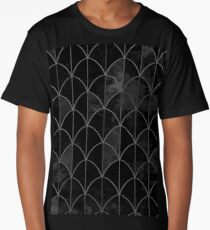 Mermaid scales. Black and white watercolor. Long T-Shirt