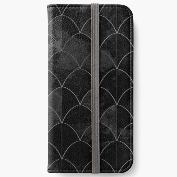 Mermaid scales. Black and white watercolor. iPhone Wallet