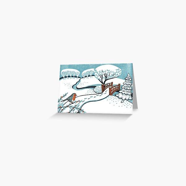 Snow, Bournemouth Gardens - Original linocut by Francesca Whetnall Greeting Card