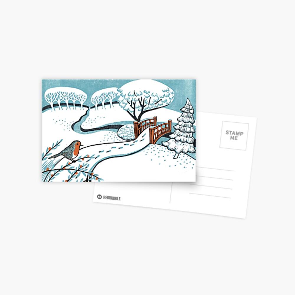 Snow, Bournemouth Gardens - Original linocut by Francesca Whetnall Postcard