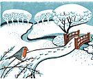 Snow, Bournemouth Gardens - Original linocut by Francesca Whetnall by Cecca-Designs