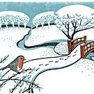 Snow, Bournemouth Gardens - Original linocut by Francesca Whetnall by Cecca-Designs