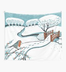 Snow, Bournemouth Gardens - Original linocut by Francesca Whetnall Wall Tapestry