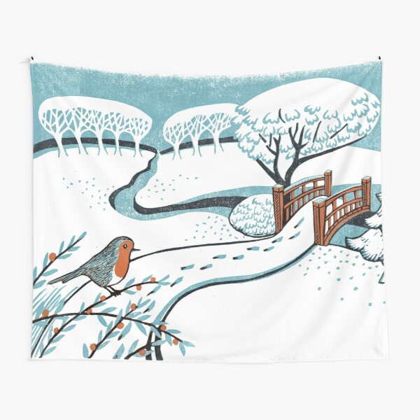 Snow, Bournemouth Gardens - Original linocut by Francesca Whetnall Tapestry