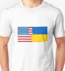 Half Ukrainian Half American Flag Mix T-Shirt