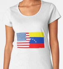 Half Venezuelan Half American Flag Mix Women's Premium T-Shirt