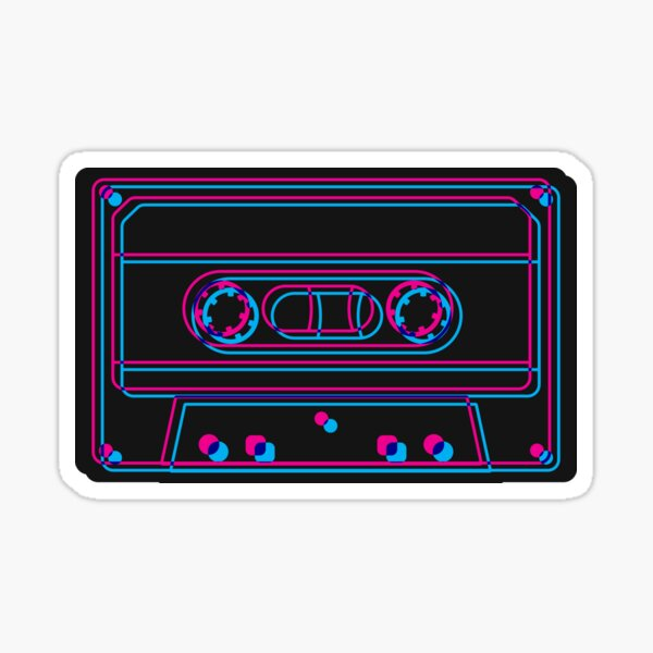3D Cassette (black) Sticker